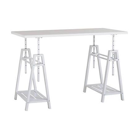 Homestar North America Adjustable Home Office Desk, Rectangular, FSC® Certified, White
