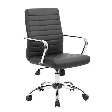Boss Office Products Retro Caressoft Vinyl Mid-Back Task Chair, Black/Chrome