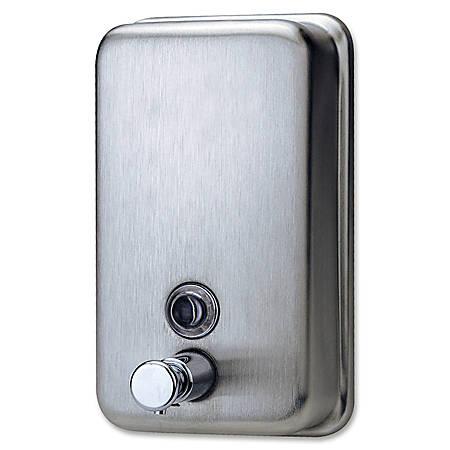 Genuine Joe Liquid/Lotion Soap Dispenser - Manual - 31.50 fl oz Capacity - Wall Mountable, Rust Proof - Stainless Steel - 24 / Carton