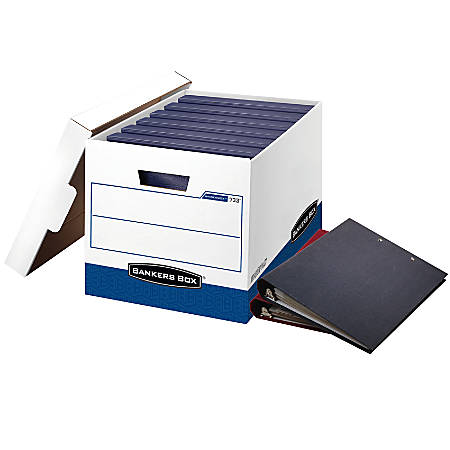 "Bankers Box® Stor/File™ FastFold™ Ring Binder Box, 18 1/2"" x 12 1/4"" x 12"", 60% Recycled, Blue/White, Carton Of 12"