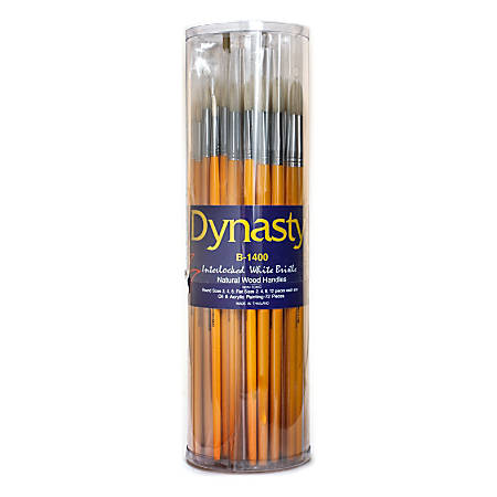 Dynasty Interlocked Paint Brushes, Round Bristle, Synthetic, Assorted Sizes, Brown, Pack Of 72
