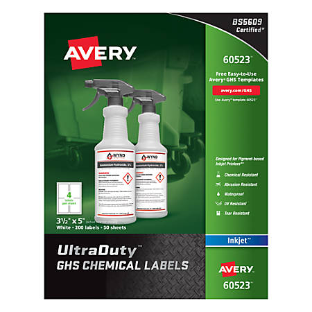 "Avery® UltraDuty GHS Chemical Labels For Pigment-Based Inkjet Printers, 60523, 3 1/2"" x 5"", White, Pack Of 200"