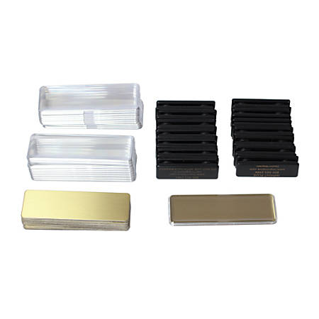 """The Mighty Badge™ Reusable Name Badges, For Laser/Inkjet Printers, 1"""" x 3"""", Gold, Pack Of 100"""