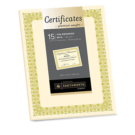 "Southworth® Premium Foil Certificates, 8 1/2"" x 11"", 66 Lb, Ivory/Gold Foil Fleur, Pack Of 15"