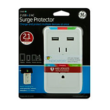 GE 2 Outlet Surge Protector Tap