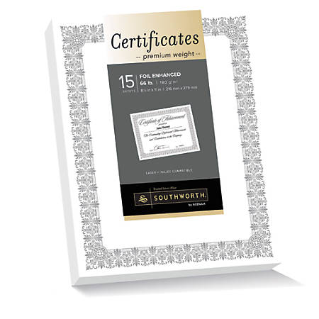 "Southworth® Premium Foil Certificates, 8 1/2"" x 11"", 66 Lb White/Silver Foil Fleur, Pack Of 15"