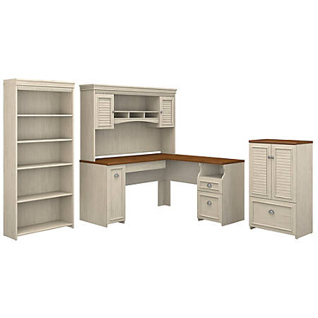 """Bush Furniture Fairview 60""""W L Shaped Desk With Hutch, Storage Cabinet With Drawer And 5 Shelf Bookcase, Antique White/Tea Maple, Standard Delivery"""