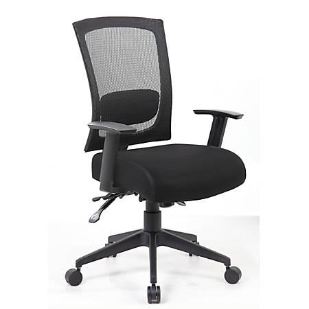 Boss Multifunction Mesh Mid-Back Task Chair, Black/Black