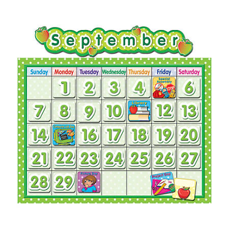 "Teacher Created Resources Calendar Bulletin Board Set, 24"" x 18"", Polka Dot, Pre-K - Grade 8"