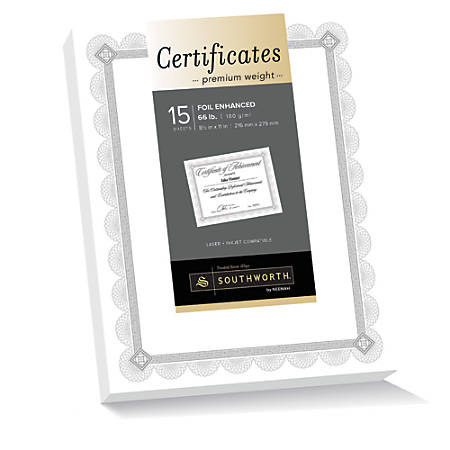 "Southworth® Premium-Weight Foil Certificates, 8 1/2"" x 11"", White/Silver Foil Spiro, Pack Of 15"
