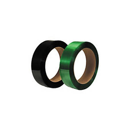 """Smooth Polyester Strapping, 1/2"""" Wide x .020 Gauge, 7,200', 16"""" x 6"""" Core, 600 Lb. Break Strength, Black"""