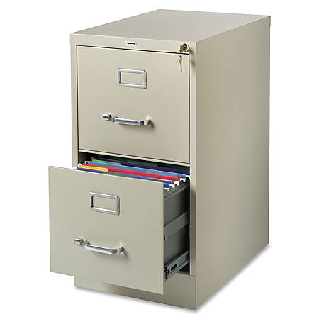 Lorell® Fortress Series 22''D 2-Drawer Letter-Size Steel Vertical File Cabinet, Putty