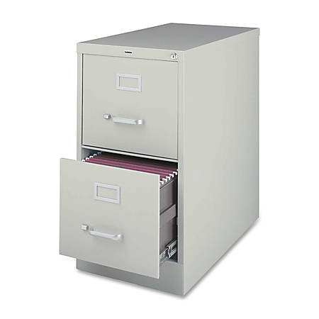 Lorell® Fortress Series 22''D 2-Drawer Letter-Size Steel Vertical File Cabinet, Light Gray