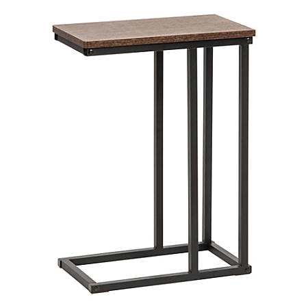 "IRIS C-Shaped Side Table, 25""H x 17-3/4""W x 10""D, Brown"