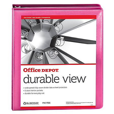 """Office Depot® Brand Durable View Round-Ring Binder, 1"""", 100% Recycled, Dark Pink"""