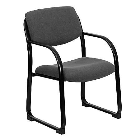 Flash Furniture Fabric Sled-Base Side Chair, Gray/Black
