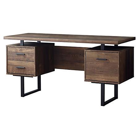 Monarch Specialties Laminate Floating-Top Computer Desk, Black/Brown
