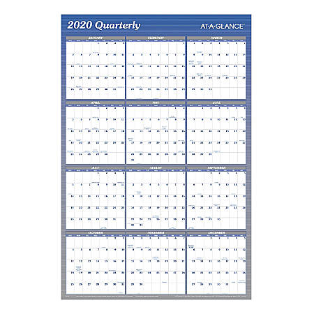 """AT-A-GLANCE® Yearly Reversible Erasable Wall Calendar, 36"""" x 24"""", Blue, A1102"""