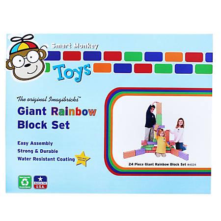 "Smart Monkey ImagiBRICKS™ Giant Rainbow Building Blocks, 12""H x 6""W x 3""D, Assorted Colors, Grades Pre-K - 3, Pack Of 24"