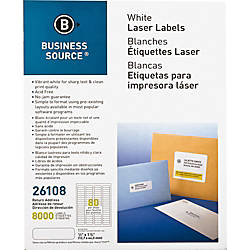 Business Source Address Laser Labels Permanent