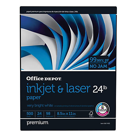 "Office Depot® Inkjet & Laser Paper, Letter Size (8 1/2"" x 11""), 24 Lb, 98 Bright, Ream Of 500 Sheets"