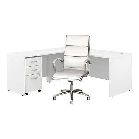 """Bush Business Furniture Studio C 72""""W L Shaped Desk with Mobile File Cabinet and High Back Office Chair, White, Standard Delivery"""