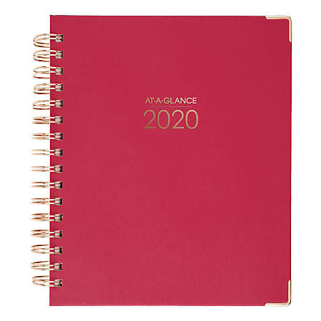 "AT-A-GLANCE® Harmony 13-Month Weekly/Monthly Planner, 7"" x 8"", Berry/Rose Gold, January 2020 To January 2021, 6099-805-59"