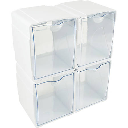 "Deflecto® Interlocking Tilt Bins, 5-1/2""H x 4-3/4""W x 4-7/8""D, Clear/White, Pack Of 4 Bins"