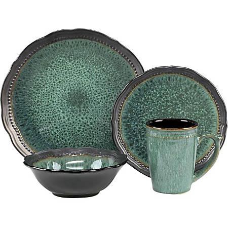 "Cuisinart Jenna CDST1-S4JEG Table Ware - 11"" Diameter Dinner Plate, 8.50"" Diameter Salad Plate, 7.13"" Diameter Bowl, 14.5 fl oz Mug - Stoneware - Serving - Dishwasher Safe - Microwave Safe - Turquoise - Glazed, Matte"