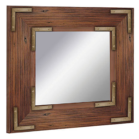 "PTM Images Framed Mirror, Accent, 20""H x 20""W, Natural Wood"