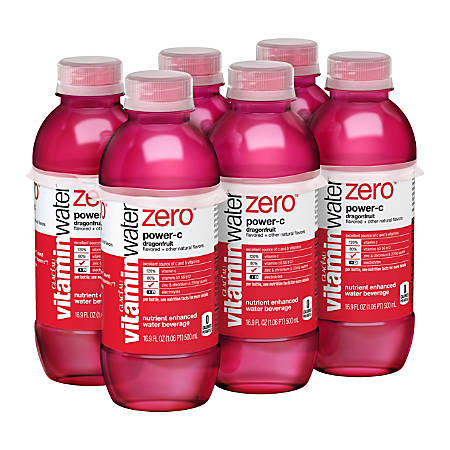 Vitaminwater Zero Sports Drinks, Power-C, 16.9 Oz, Pack Of 6 Bottles