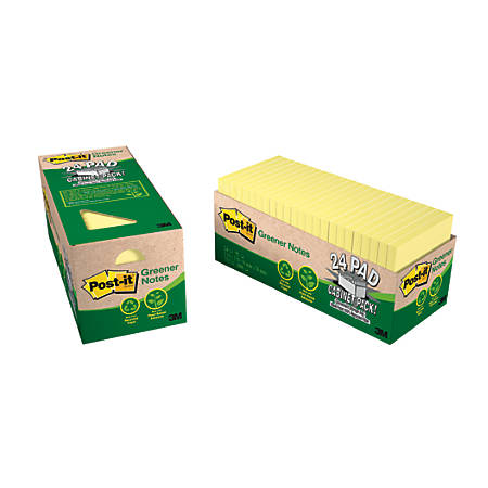 "Post it® Greener Notes, 100% Recycled, 3"" x 3"", Canary Yellow, Pack Of 24 Pads"