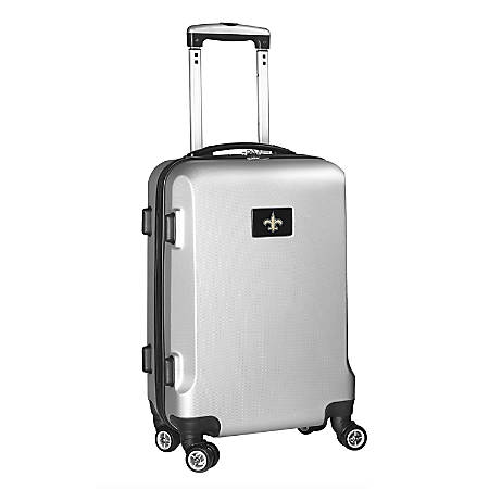 "Denco 2-In-1 Hard Case Rolling Carry-On Luggage, 21""H x 13""W x 9""D, New Orleans Saints, Silver"