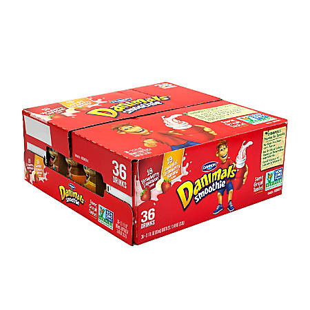 Dannon Danimals Strawberry Explosion & Swingin' Strawberry Banana Smoothies, 3 Oz, Pack Of 36 Smoothies