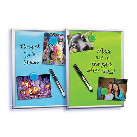 "FORAY™ Magnetic Dry-Erase Board, 8 1/2"" x 11"", Assorted Board Colors (No Color Choice), Silver Frame"