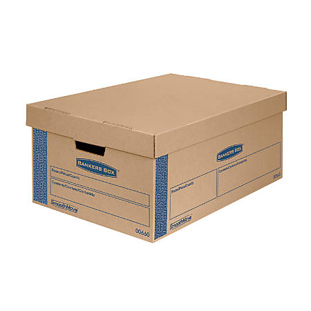 "Bankers Box® SmoothMove™ Prime Lift-Off Lid Moving Boxes, Large, 24"" x 15"" x 10"", 85% Recycled, Kraft/Blue, Pack Of 8"