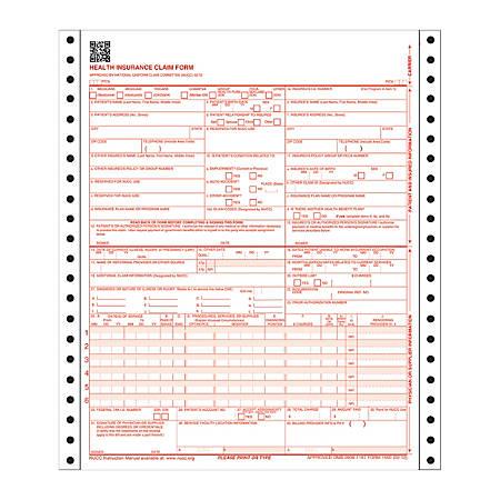"Adams® Health Insurance Claim Form, 2-Part, 8 1/2"" x 11"", 100 Sets"