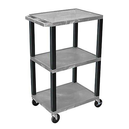 """H. Wilson Plastic Utility Cart With Electrical Assembly, 42 1/16""""H x 24""""W x 18""""D, Gray/Black"""