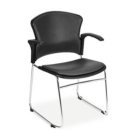 OFM Multi-Use Anti-Microbial Anti-Bacterial Stack Chairs, Charcoal/Chrome, Set Of 4