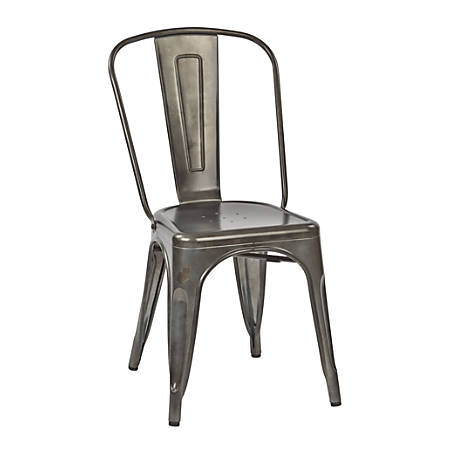 Office Star™ Bristow Armless Chair, Matte Galvanized, Set Of 4 Chairs