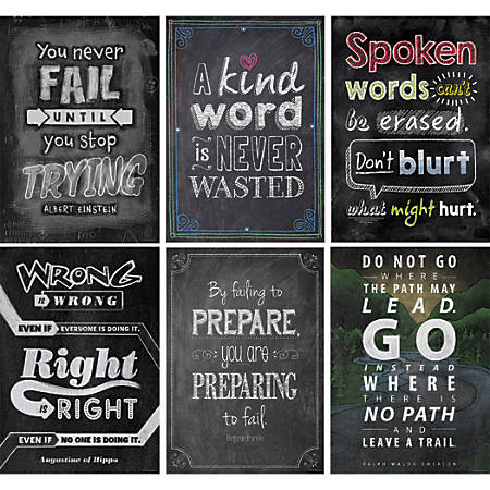 Creative Teaching Press® Chalk It Up! Inspire U Posters Pack #2, Pack Of 6 Posters