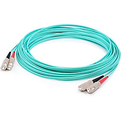 AddOn 15m SC (Male) to SC (Male) Aqua OM3 Duplex Fiber OFNR (Riser-Rated) Patch Cable - 100% compatible and guaranteed to work
