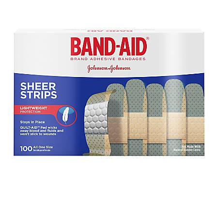 """Band-aid® Bandages, Sheer, 3/4"""" x 3"""", Box Of 100 Bandages"""