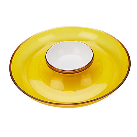 """Mind Reader 2-Compartment Chips And Dip Bowl Set, 13"""" x 2-1/4"""", Yellow"""