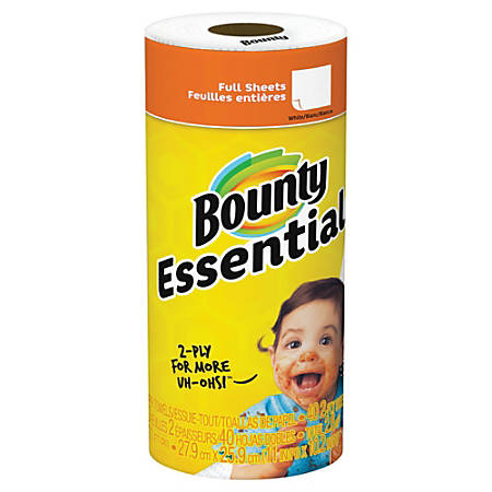 "Bounty Essentials 2-Ply Paper Towels, 11"" x 10 1/4"", White, 40 Sheets Per Roll, Carton Of 30 Rolls"