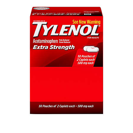 Tylenol Extra Strength Caplets, 2 Caplets Per Packet, Box Of 50 Packets