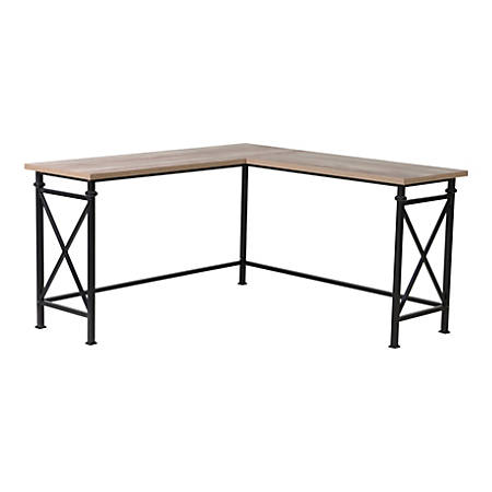 Homestar North America Corner Desk, FSC Certified®, Black/Dark Brown