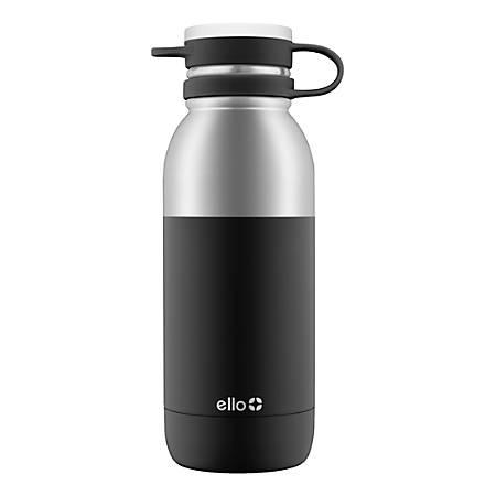 Ello Damen Insulated Stainless Steel Water Bottle, 20 Oz, Black