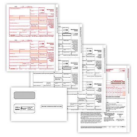"ComplyRight™ 1099-MISC Tax Forms, 5-Part, 8-1/2"" x 11"", Pack Of 100 Forms And Envelopes"
