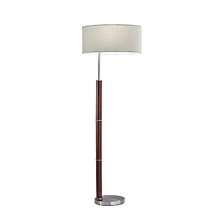 "Adesso® Hunter Floor Lamp, 58""H, Natural Shade/Brushed Steel"